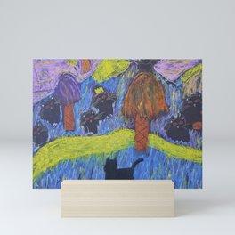 Kristas Queen of the Black Kitties and Midnight  Mini Art Print