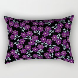 'Violet Compliment' Purple & Blue flowers design Rectangular Pillow