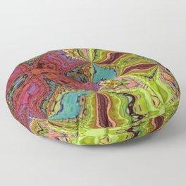 Kaleidoscope Glass Art (Maroon, Yellow, Salmon, Teal, Red) Floor Pillow