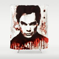 dexter Shower Curtains featuring Dexter by Alycia Plank