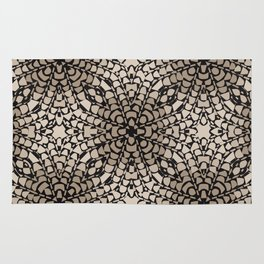 Black and Tan Geometric Modern Chrysanthemum Pattern Rug