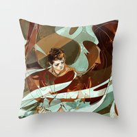 grace Throw Pillows featuring grace by anobviousaside