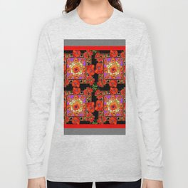 GREY & BLACK ART RED DECO ORANGE-RED POPPIES Long Sleeve T-shirt