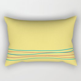 Yellow Aqua Gray Red Scribble Line Design Bottom 2021 Color of the Year AI Aqua and Accent Shades Rectangular Pillow