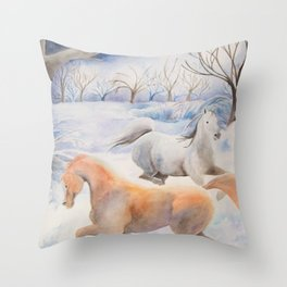 Horses Dancing Under A Winter Full Moon Throw Pillow