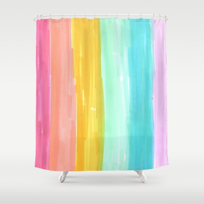 Rainbow Stripes Pastel In The Spring Shower Curtain