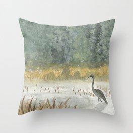 Heron Lake Throw Pillow