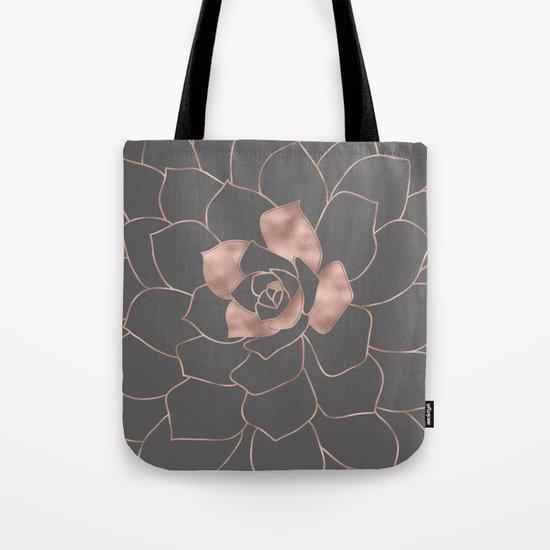 Rosegold  blossom on grey - Pink metal-effect flower Tote Bag
