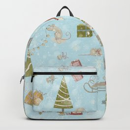 From Mice And Christmas - Cute teal X-Mas Pattern Backpack
