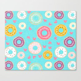 hearts and donuts blue Canvas Print