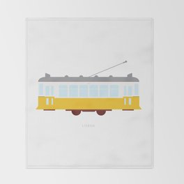 Lisbon Tram Throw Blanket