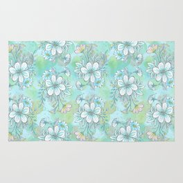 Blue Flower Pattern Rug