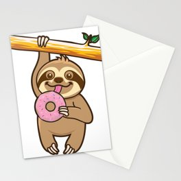 Sloth loves donut Stationery Cards