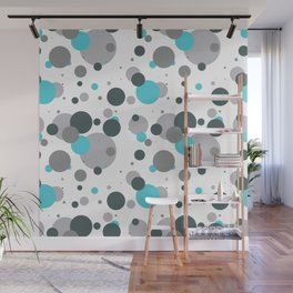 Modern Turquoise, Green and Grey Circle Pattern Wall Mural