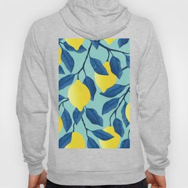 Yellow lemon on the branches with leaves and blue sky. Vintage hand drawn illustration pattern Hoody
