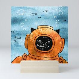 Scuba cat Mini Art Print