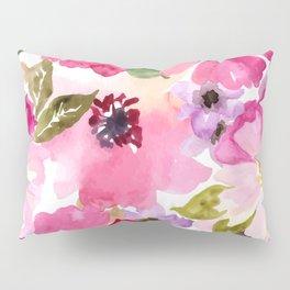 Watercolor Flowers Pink Fuchsia Pillow Sham