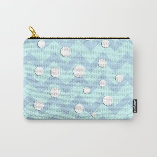 Light blue white Chevron pattern with Snow Circles Carry-All Pouch