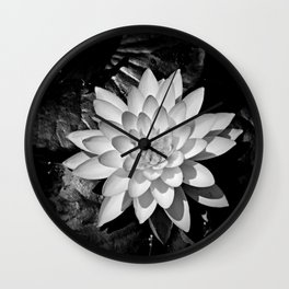 Water Lily in Black and White from Overhead Wall Clock