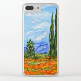 Poppy Meadow, Poppy Field Impressionist Painting Clear iPhone Case
