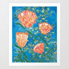 Four Orange Proteas Art Print