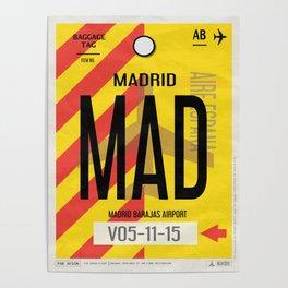 Vintage Madrid Luggage Tag Poster Poster