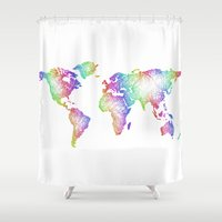 world map Shower Curtains featuring World map by David Zydd