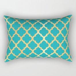 Moroccan Gold & Turqoise Rectangular Pillow