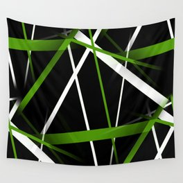 Seamless Grass Green and White Stripes on A Black Background Wall Tapestry