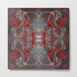 silver red and black fancy digital handmade pattern Metal Print
