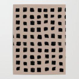 Polka Strokes - Black on Nude Poster