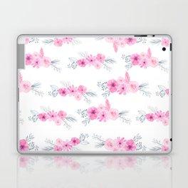 Blush pink gray watercolor hand painted elegant floral Laptop & iPad Skin