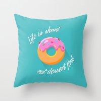 dessert Throw Pillows featuring Dessert by ministryofpixel