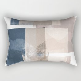 "Navy and Pink Minimalist Geometric Abstract ""Building Blocks"" Rectangular Pillow"