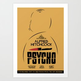 Psycho, Alfred Hitchcock, minimal movie poster, classic horror film, american cinema, thriller Art Print