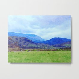 Sheep in Pasture View from Castlerigg Stone Circle, Lake District UK Watercolor Metal Print