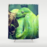 snake Shower Curtains featuring Snake by Yoshigirl