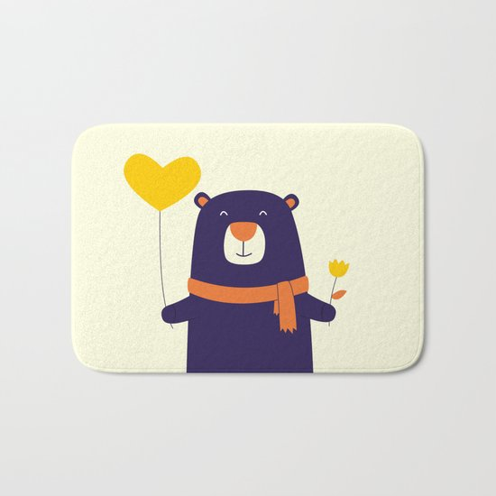 Purple Bear is Here Bath Mat