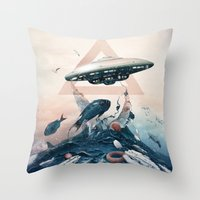 ufo Throw Pillows featuring UFO by Tanya_tk