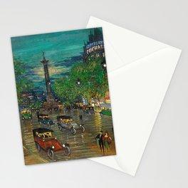 Paris Colonne de Juillet, Boulevard Bastille Bustling Night Scene landscape by Konstantin Korovin Stationery Cards