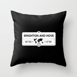 Brighton and Hove England Map GPS Coordinates Throw Pillow