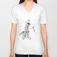 banana V-neck T-shirts featuring Banana by Benson Koo