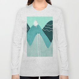Modern turquoise abstract mountains watercolor cut out climb illustration Long Sleeve T-shirt