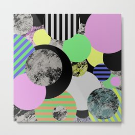 Cluttered Circles - Abstract, Geometric, Pop Art Style Metal Print