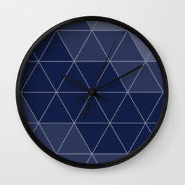 Indigo Navy Blue Triangles Wall Clock