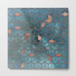 Pink Quartz And Teal Blue Cubes Geometry Pattern Metal Print