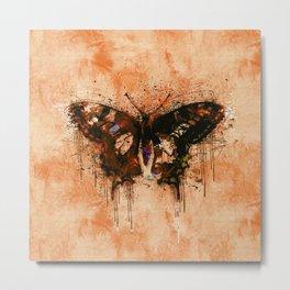 artistic watercolor butterfly painting artwork Metal Print