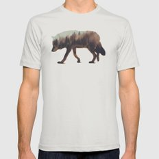 Norwegian Woods: The Wolf LARGE Silver Mens Fitted Tee