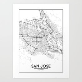 Minimal City Maps - Map Of San Jose, California, United States Art Print