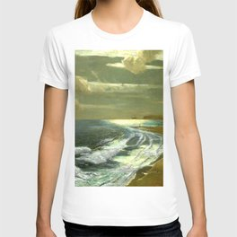 Moonlit Breaking Waves Along Dunes and Seashore with Lighthouse landscape painting by Julius Olsson T-shirt